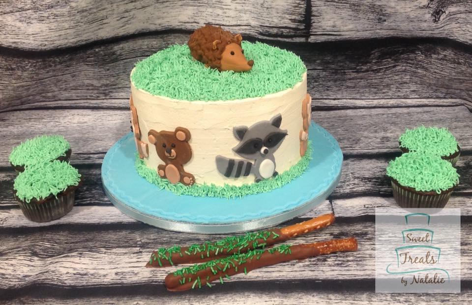 Woodland animal theme cake