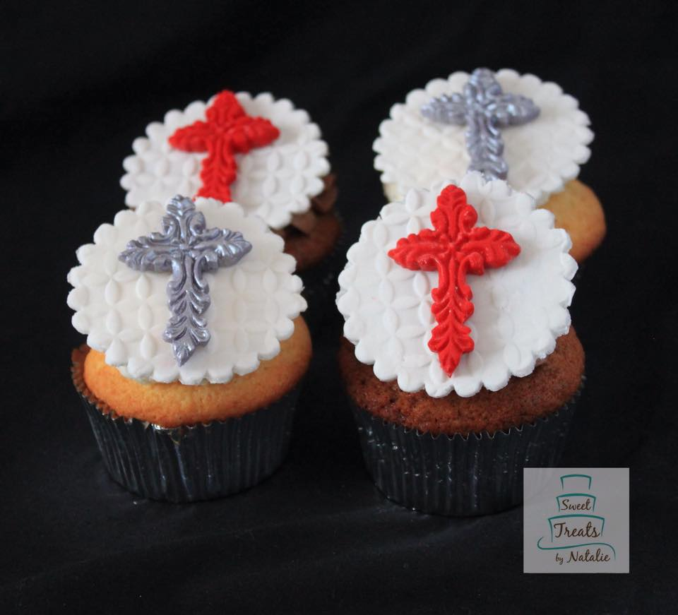 Confirmation cross topper cupcakes.