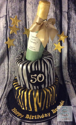 Zebra stripe with wine bottle