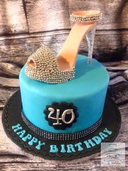 Silver high heel shoe birthday