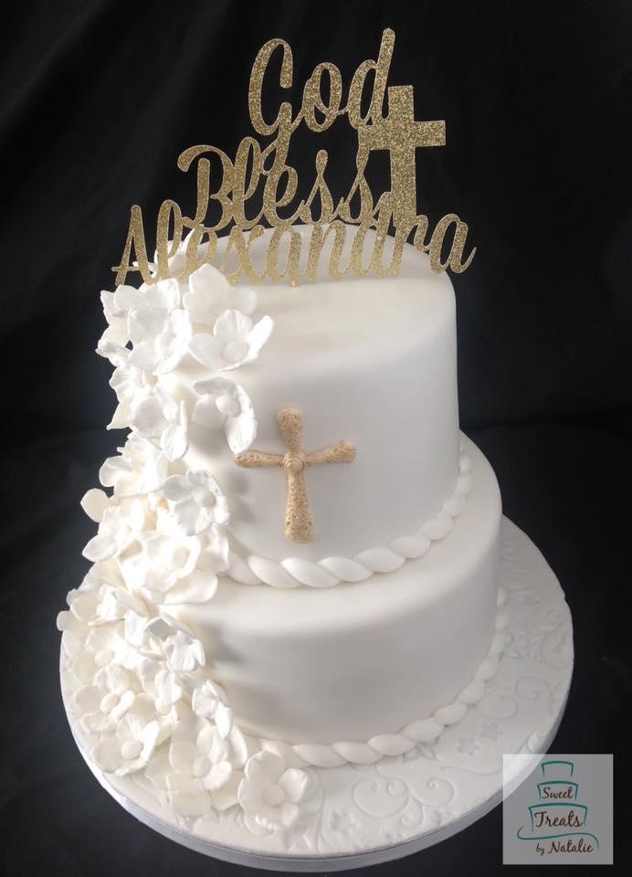 Cascade of white flowers cake