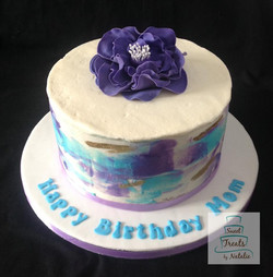 Blue & purple watercolour cake