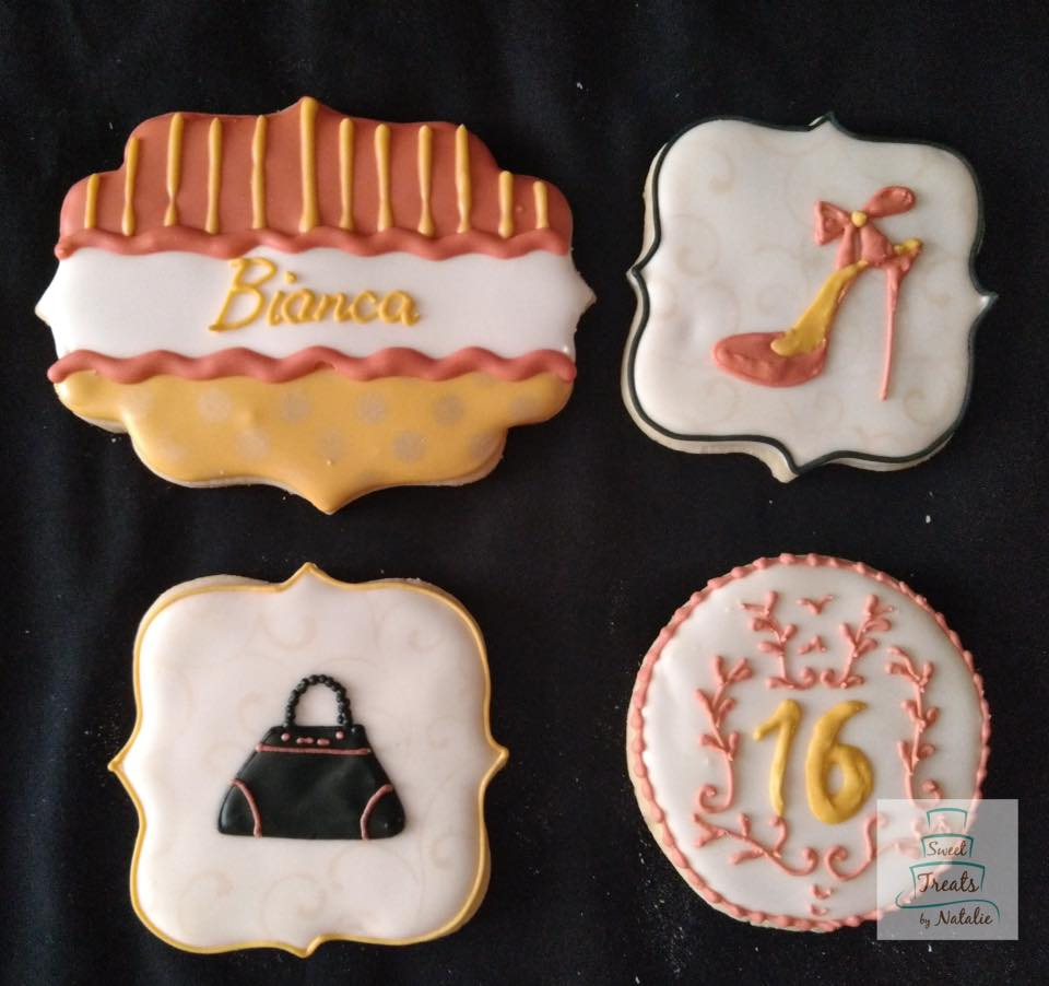 Rose gold Sweet 16 cookies