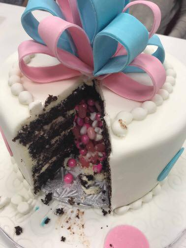 Gender Reveal cake inside
