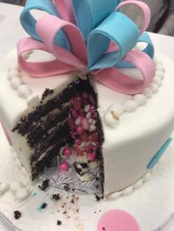 Gender Reveal cake inside