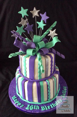 Purple, turquoise & silver birthday