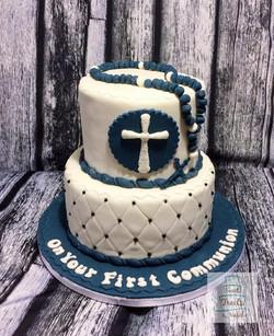 Navy and whtie Communion cake