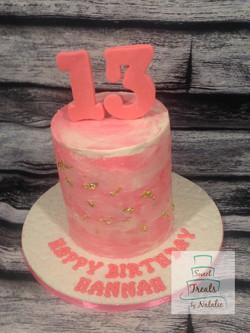 Pink watercolour 13th birthday cake