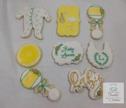 Lemon themed baby shower cookies