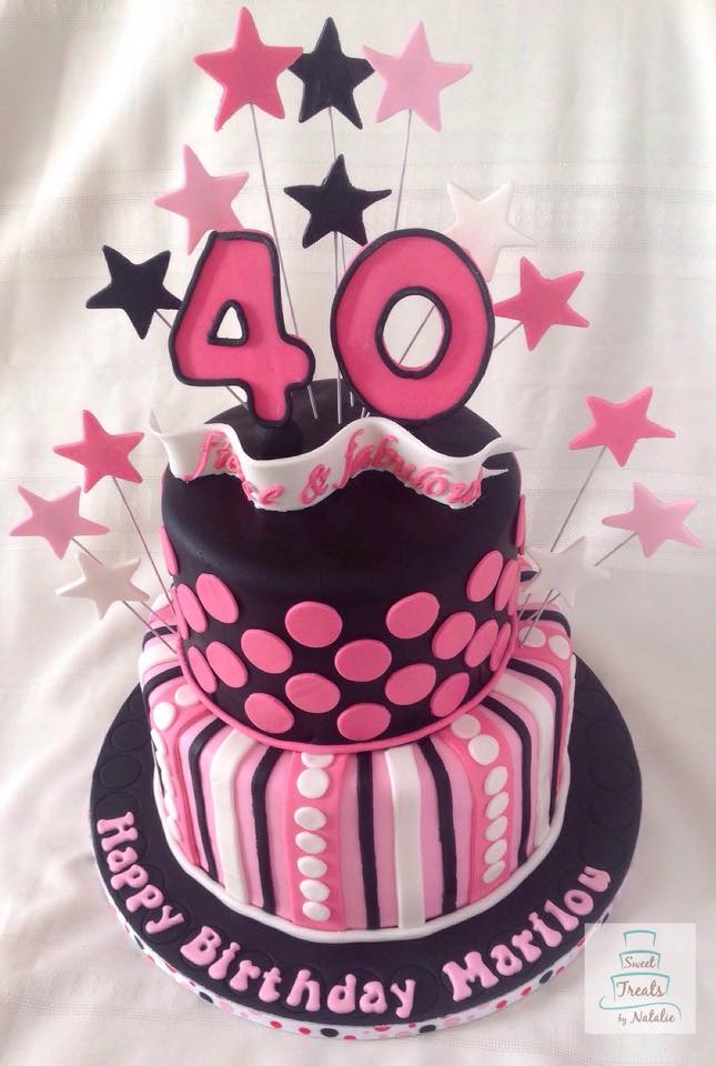 Pink, black and white 40th Birthday