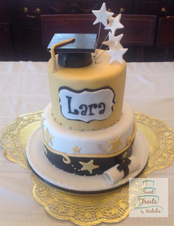 Gold, White & Black Graduation cake