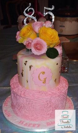 Pink Ruffle cake with Gold Flakes