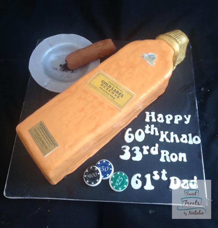 Johnnie Walker bottle cake