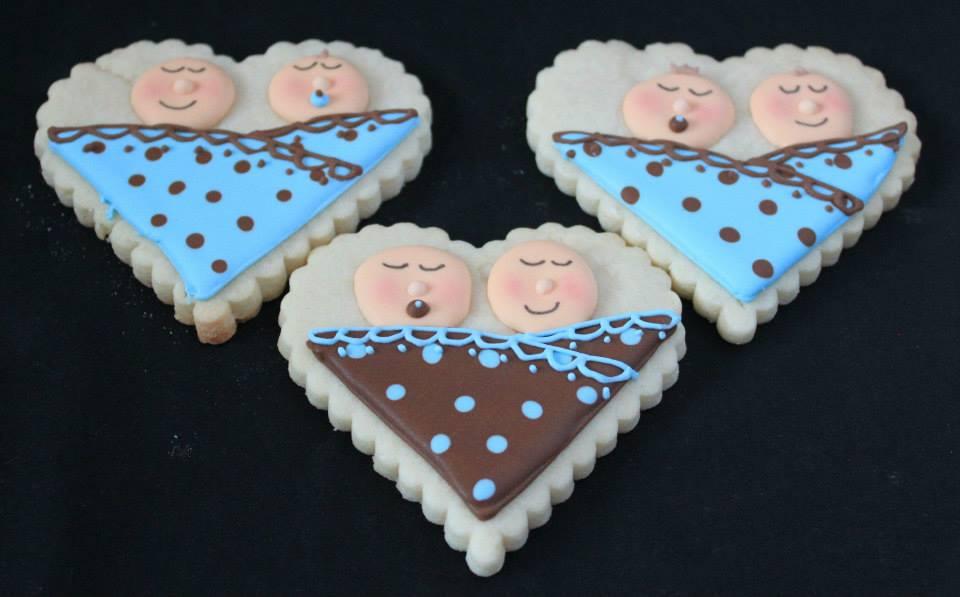 Twins baby shower cookies