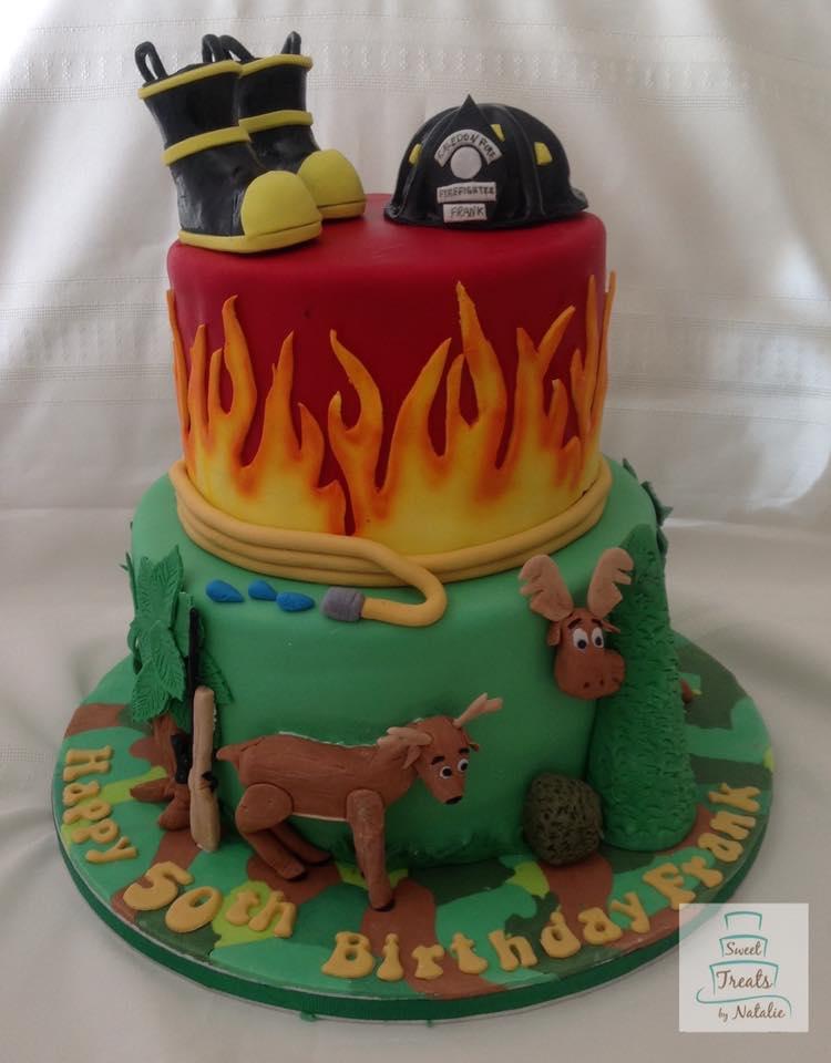 Firefighter/hunter birthday cake