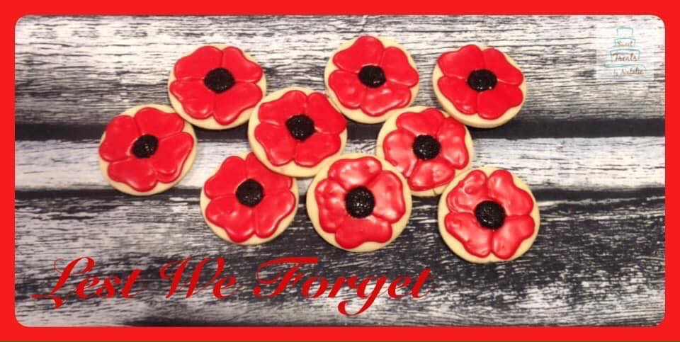 Remembrance Day poppy cookies