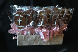 Chocolate lollipops with tags