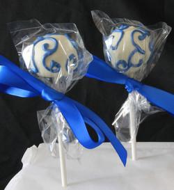 Blue filigree cake pop