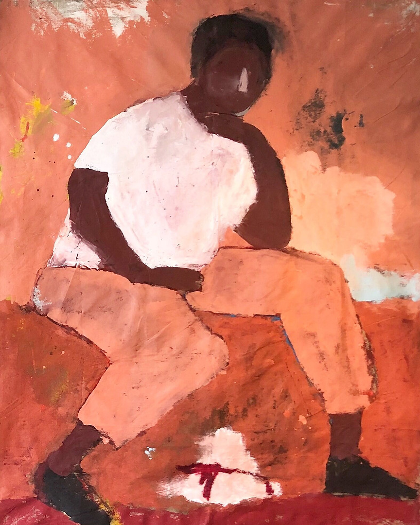 """After All You've Seen 2019 48"""" x61"""" Acrylic, Oil Stick on Linen"""