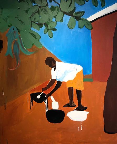 """Chef Jacmel"" 2019 48""x60"" Acrylic on Canvas"