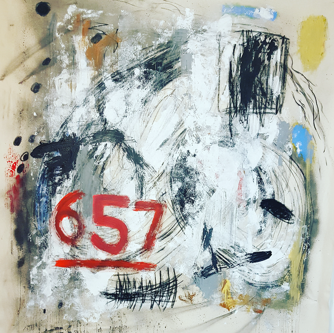 """Views From 657, 2016 Acrylic and Charcoal on Canvas 63.5""""x 63.5"""""""