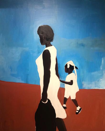"""Prale Lekol ak Manmanm"" (To School with Mother)2019 48"" x60"" Acrylic on Canvas"