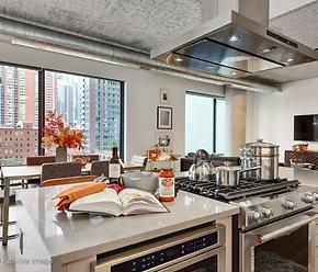 gourmet kitchen in Chicago loft apartment