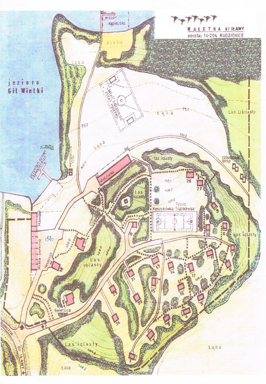Mazury, Pojezierze Iławskie, jezioro Gil Wielki, Kaletka : plan ośrodka