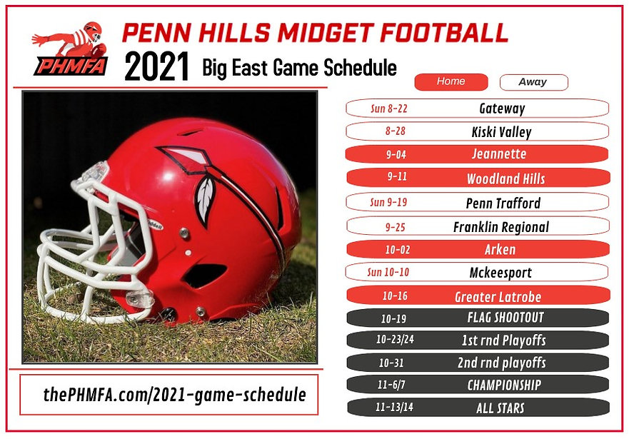 2021 PHMFA BIG EAST Game schedule revise