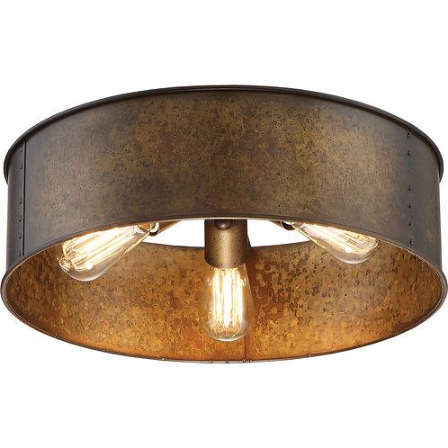 Kettle 3 Light Brass Flush Mount (Includes Filament Bulbs as Shown)
