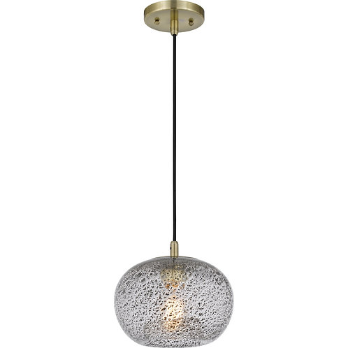 """Terrain 9.25"""" Bubble Glass Pendant with Antique Brass Fittings"""