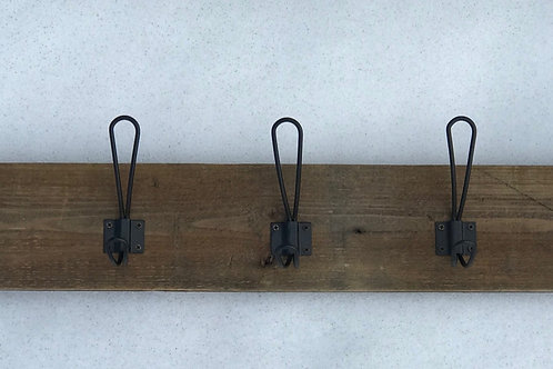 Recycled Wooden Rack w/ 5 Black Hooks