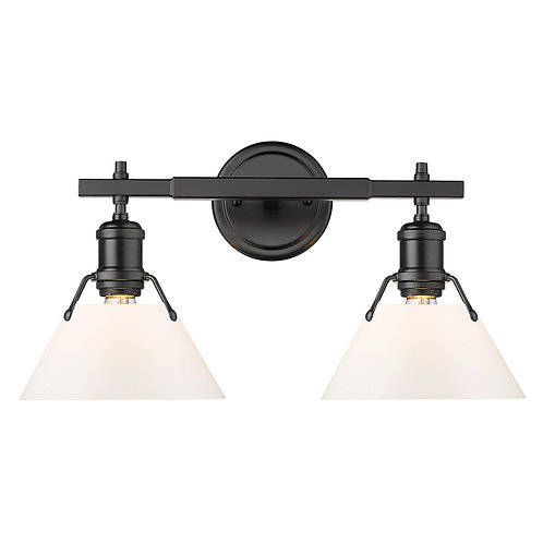 Orwell 2 Light Bath Sconce Opal Glass / Matte Black Metal