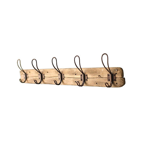 Recycled Wooden Rack w/ 5 Rusty Hooks