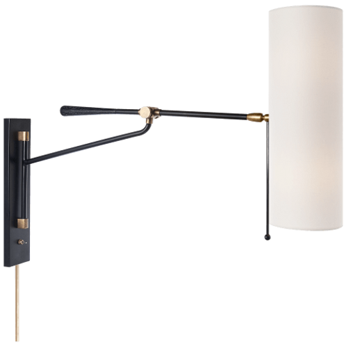 Frankfort Articulating Wall Light - Brass/Black with Linen Shade