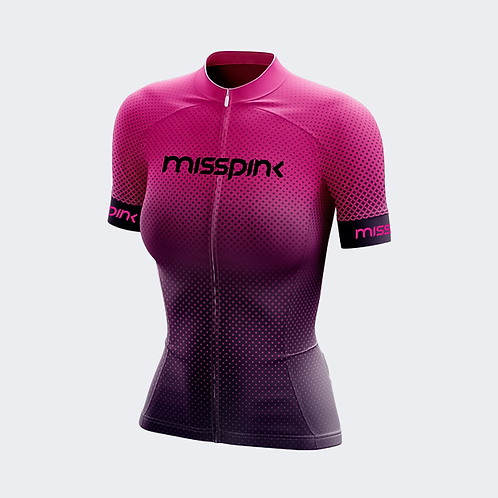 Camisa de Ciclismo Misspink Manga Curta Purple
