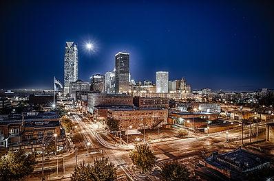 City, Oklahoma city, okc, night time, long exposure,