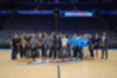 Thunder launchpad, batch 1, accelerator, startup, thunder, okc, oklahoma city thunder, basketball court, basketball stadium, half court, group photo,