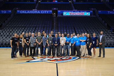 Thunder launchpad, batch 1, accelerator, startup, thunder, okc, oklahoma city thunder, basketball court, basketball stadium, half court, group photo,