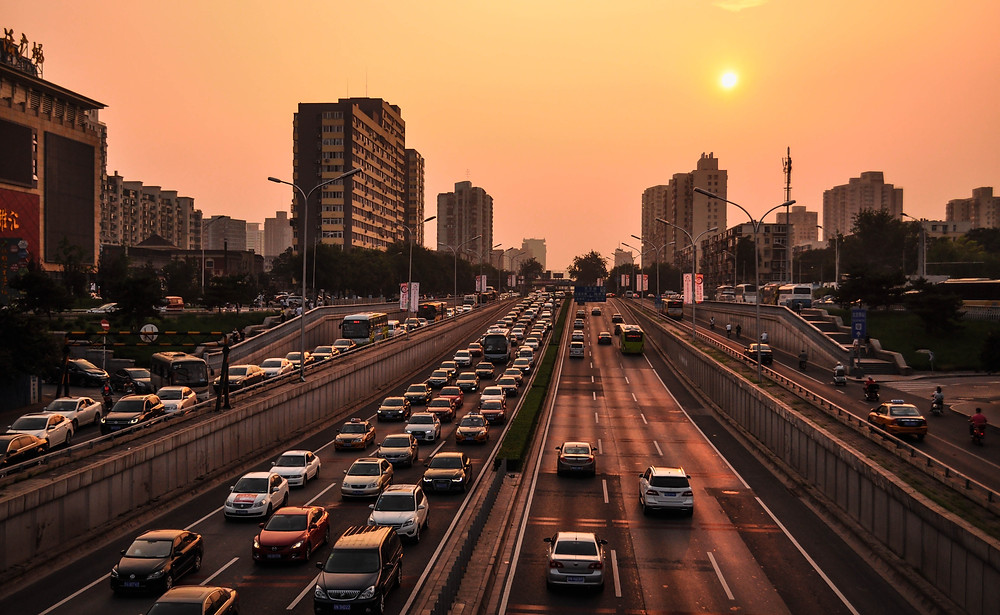 city, sunset, traffic, jam, cars, road, cityscape, infrastructure