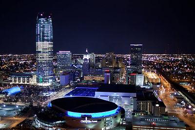 cityscape, city, night, lights, OKC, Oklahoma City