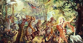Lord Caytania Dancing With Forest Animals