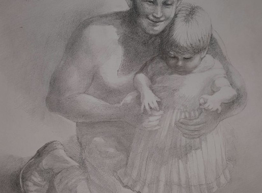 Charcoal Father Daughter Portrait