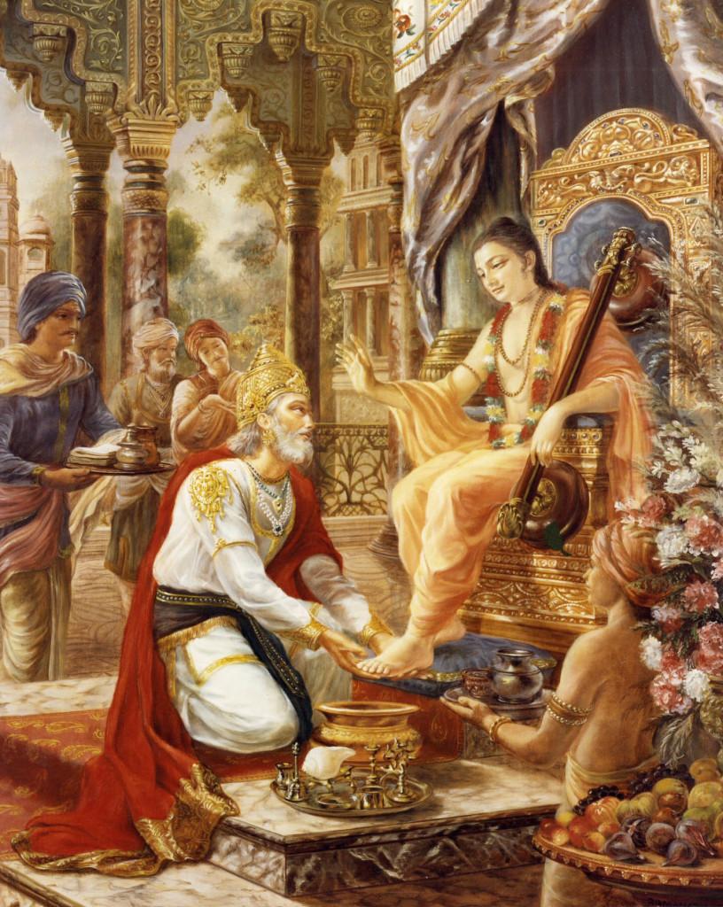 Brahma Kneeling Down in Front of Krishna