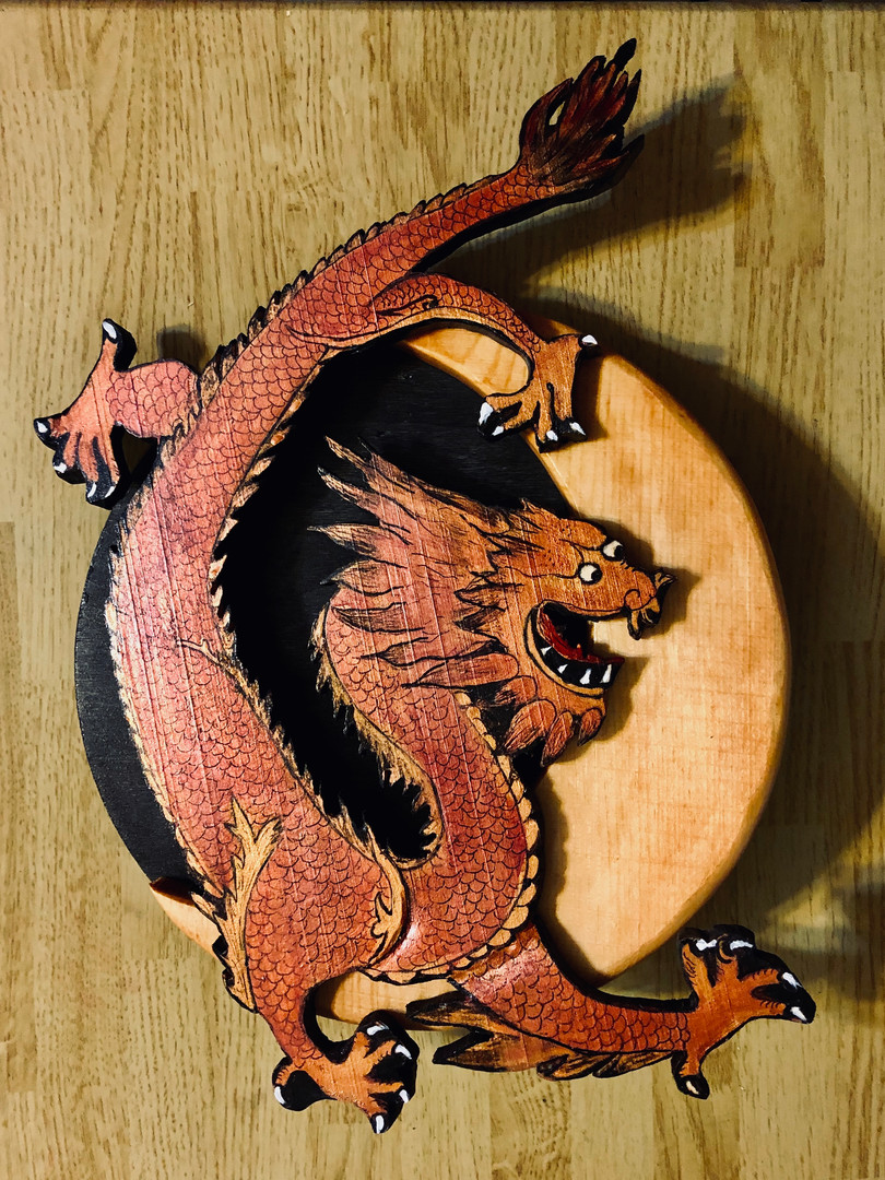 Dragon Moon Layered Wood plaue