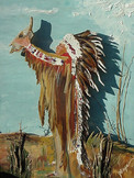 Indian Chief, scrolled wood w/mixed mediums