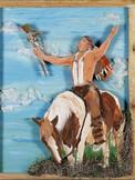 Great Warrior, 3D layered wood,mixed mediums