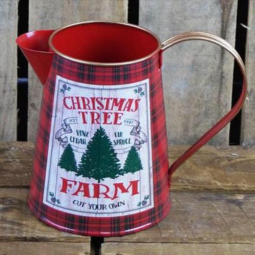 Red Tartan Tin Christmas Jug