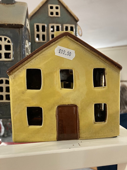 Mustard pottery tealight house