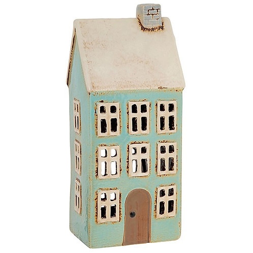 Tall Blue House Tealight